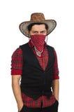 Giovane cowboy isolato su bianco Immagini Stock Libere da Diritti