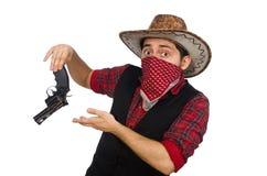 Giovane cowboy isolato sul bianco Immagini Stock Libere da Diritti