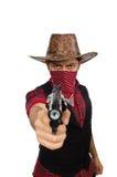 Giovane cowboy isolato sul bianco Fotografia Stock Libera da Diritti