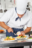Cuoco unico che guarnisce piatto con maionese Immagini Stock