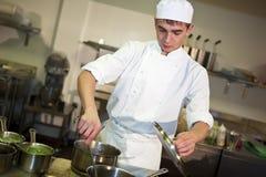 Giovane cuoco unico maschio che cucina pasto Fotografie Stock Libere da Diritti