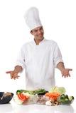 Giovane cuoco unico nepalese dell'uomo, verdura fresca Fotografie Stock Libere da Diritti