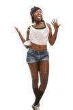 Giovane dancing africano hip-hop della donna Immagini Stock Libere da Diritti