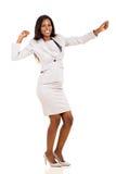 Giovane dancing della donna di affari Immagine Stock Libera da Diritti