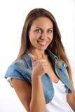 Giovane dare della studentessa pollici aumenta il gesto Fotografia Stock Libera da Diritti