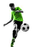 Giovane del giocatore di football americano di calcio che dà dei calci alla siluetta Immagine Stock