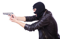 Giovane delinquente con la pistola Immagini Stock