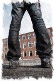 Giovane dell'indumento sbagliato con le gambe sparse che stanno davanti ad una costruzione Illustrazione del carbone immagini stock