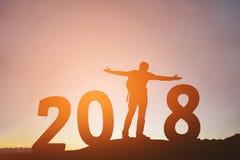 Giovane della siluetta felice per 2018 nuovi anni Immagine Stock Libera da Diritti