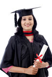 Giovane diploma felice della tenuta della studentessa Immagine Stock Libera da Diritti
