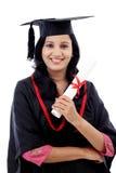 Giovane diploma felice della tenuta della studentessa Fotografie Stock