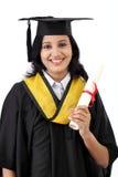 Giovane diploma felice della tenuta della studentessa Fotografie Stock Libere da Diritti