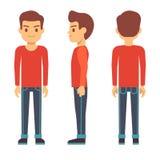 Giovane diritto, carattere del ragazzo nella parte anteriore, parte posteriore, vista laterale nell'insieme di vettore dell'abbig illustrazione vettoriale
