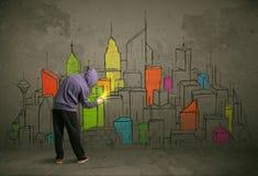Giovane disegno urbano del pittore Immagini Stock Libere da Diritti