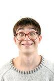 Giovane divertente in vetri Fotografia Stock Libera da Diritti