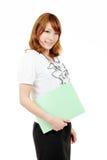 Giovane documento asiatico dell'archivio di holding della donna di affari Immagine Stock