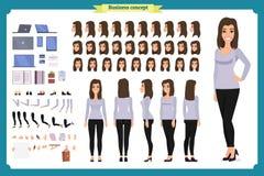 Giovane donna, abbigliamento casual Insieme della creazione del carattere Viste integrali e differenti, emozioni, gesti, isolati  illustrazione vettoriale
