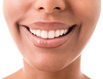 Fine della bocca della donna su Fotografie Stock