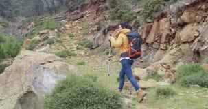 Giovane donna adatta dell'attivo su una traccia di escursione stock footage