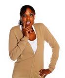 Giovane donna Afro-american che grida Fotografie Stock