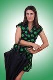 Giovane donna alla moda con l'ombrello Immagine Stock