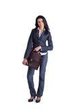 Giovane donna alla moda di affari con la cartella Immagini Stock