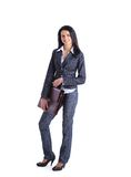 Giovane donna alla moda di affari con la cartella Immagini Stock Libere da Diritti