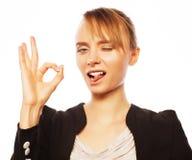 Giovane donna allegra di affari Fotografie Stock Libere da Diritti