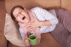 Giovane donna ammalata Immagine Stock Libera da Diritti