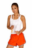 Giovane donna asiatica con la corda di salto fotografia stock