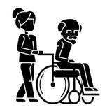Giovane donna, assistente sociale che passeggia con l'uomo più anziano nell'icona della sedia a rotelle, illustrazione di vettore illustrazione vettoriale
