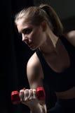 Giovane donna atletica che fa un allenamento di forma fisica con le teste di legno Immagine Stock