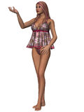 Giovane donna attraente in camicia da notte sexy Fotografie Stock Libere da Diritti