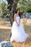 Giovane donna attraente che gode del suo tempo fuori in di olivo Immagini Stock