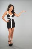 Giovane donna attraente che presenta qualcosa Fotografie Stock
