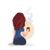Giovane donna attraente con una tazza di caffè o un tè illustrazione di stock