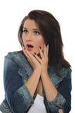 Giovane donna attraente di espressioni sorpresa fotografie stock libere da diritti
