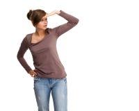 Giovane donna isolata su fondo bianco immagine stock