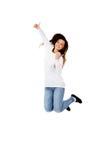 Giovane donna bella di salto felice Immagine Stock