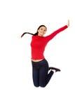 Giovane donna bella di salto felice Fotografia Stock Libera da Diritti