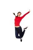 Giovane donna bella di salto felice Immagine Stock Libera da Diritti