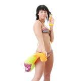 Giovane donna in bikini del colorfull fotografie stock