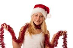 Giovane donna bionda attraente in vestito dal Babbo Natale - christmass Fotografie Stock
