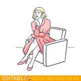 Giovane donna bionda che si siede in una sedia Grafico di vettore editabile nello stile lineare Immagine Stock Libera da Diritti