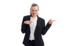 Giovane donna bionda felice di affari che smilling e che balla Fotografia Stock Libera da Diritti