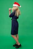 Giovane donna bionda in un cappuccio di natale Immagini Stock
