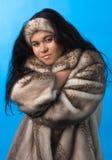 Giovane donna in cappotto di pelliccia Fotografia Stock