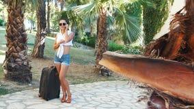 Giovane donna castana in breve, occhiali da sole e talloni con la valigia parlante sul telefono fra le palme di estate stock footage