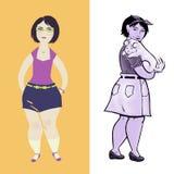 Giovane donna casuale in due stili differenti illustrazione di stock