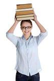 Giovane donna caucasica (allievo) con i libri Immagine Stock